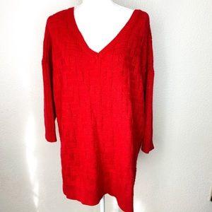 Lane Bryant Women's Red Knit V-Neck Long Sweater